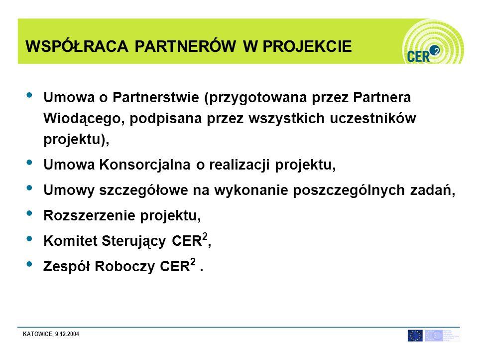 KATOWICE, 9.12.2004 WSPÓŁRACA PARTNERÓW W PROJEKCIE Umowa o Partnerstwie (przygotowana przez Partnera Wiodącego, podpisana przez wszystkich uczestników projektu), Umowa Konsorcjalna o realizacji projektu, Umowy szczegółowe na wykonanie poszczególnych zadań, Rozszerzenie projektu, Komitet Sterujący CER 2, Zespół Roboczy CER 2.