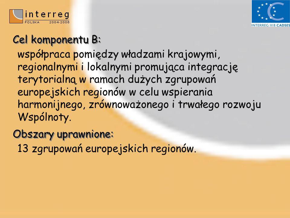 Cel komponentu B: współpraca pomiędzy władzami krajowymi, regionalnymi i lokalnymi promująca integrację terytorialną w ramach dużych zgrupowań europejskich regionów w celu wspierania harmonijnego, zrównoważonego i trwałego rozwoju Wspólnoty.