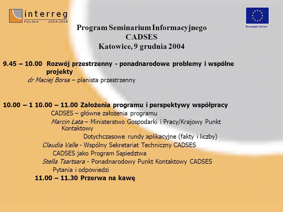 Program Seminarium Informacyjnego CADSES Katowice, 9 grudnia 2004 9.45 – 10.00 Rozwój przestrzenny - ponadnarodowe problemy i wspólne projekty dr Maci