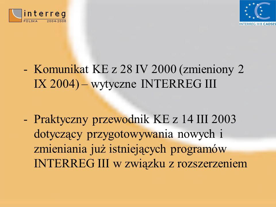 -Komunikat KE z 28 IV 2000 (zmieniony 2 IX 2004) – wytyczne INTERREG III -Praktyczny przewodnik KE z 14 III 2003 dotyczący przygotowywania nowych i zmieniania już istniejących programów INTERREG III w związku z rozszerzeniem