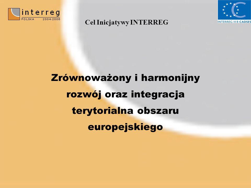 Cel Inicjatywy INTERREG Zrównoważony i harmonijny rozwój oraz integracja terytorialna obszaru europejskiego