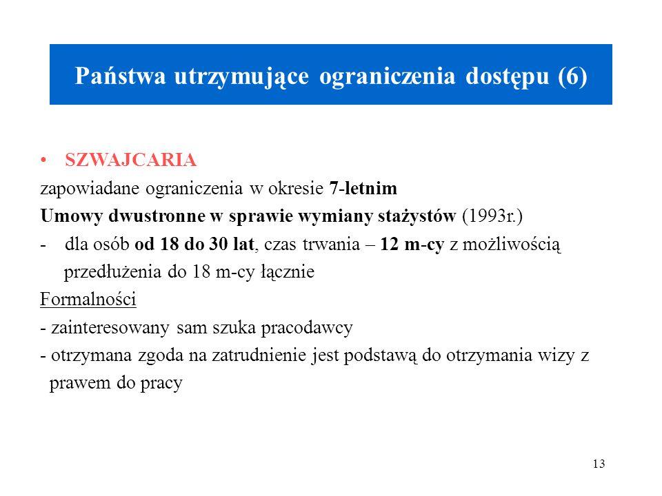13 Państwa utrzymujące ograniczenia dostępu (6) SZWAJCARIA zapowiadane ograniczenia w okresie 7-letnim Umowy dwustronne w sprawie wymiany stażystów (1993r.) -dla osób od 18 do 30 lat, czas trwania – 12 m-cy z możliwością przedłużenia do 18 m-cy łącznie Formalności - zainteresowany sam szuka pracodawcy - otrzymana zgoda na zatrudnienie jest podstawą do otrzymania wizy z prawem do pracy