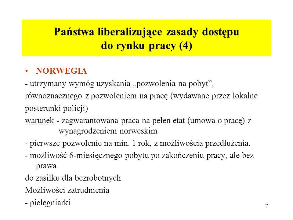 7 Państwa liberalizujące zasady dostępu do rynku pracy (4) NORWEGIA - utrzymany wymóg uzyskania pozwolenia na pobyt, równoznacznego z pozwoleniem na pracę (wydawane przez lokalne posterunki policji) warunek - zagwarantowana praca na pełen etat (umowa o pracę) z wynagrodzeniem norweskim - pierwsze pozwolenie na min.