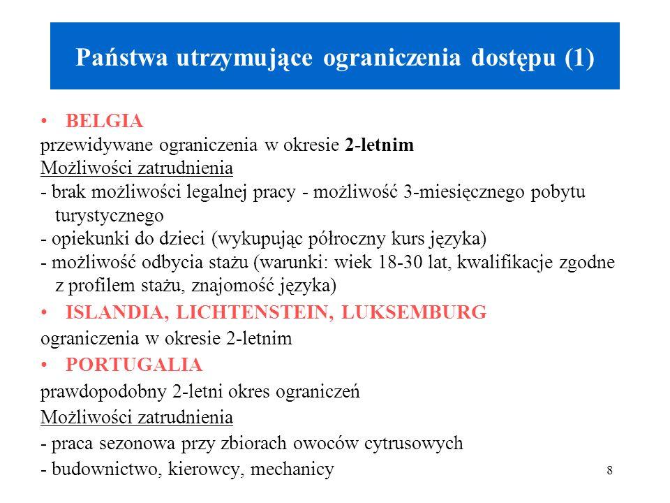 8 Państwa utrzymujące ograniczenia dostępu (1) BELGIA przewidywane ograniczenia w okresie 2-letnim Możliwości zatrudnienia - brak możliwości legalnej pracy - możliwość 3-miesięcznego pobytu turystycznego - opiekunki do dzieci (wykupując półroczny kurs języka) - możliwość odbycia stażu (warunki: wiek 18-30 lat, kwalifikacje zgodne z profilem stażu, znajomość języka) ISLANDIA, LICHTENSTEIN, LUKSEMBURG ograniczenia w okresie 2-letnim PORTUGALIA prawdopodobny 2-letni okres ograniczeń Możliwości zatrudnienia - praca sezonowa przy zbiorach owoców cytrusowych - budownictwo, kierowcy, mechanicy