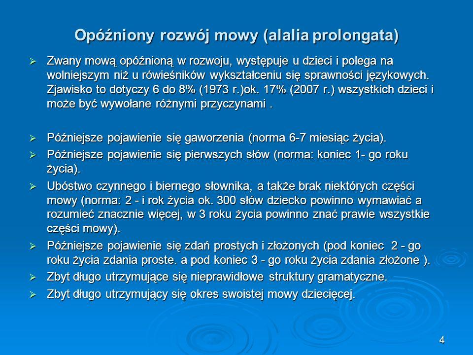 Opóźniony rozwój mowy (alalia prolongata) Zwany mową opóźnioną w rozwoju, występuje u dzieci i polega na wolniejszym niż u rówieśników wykształceniu s