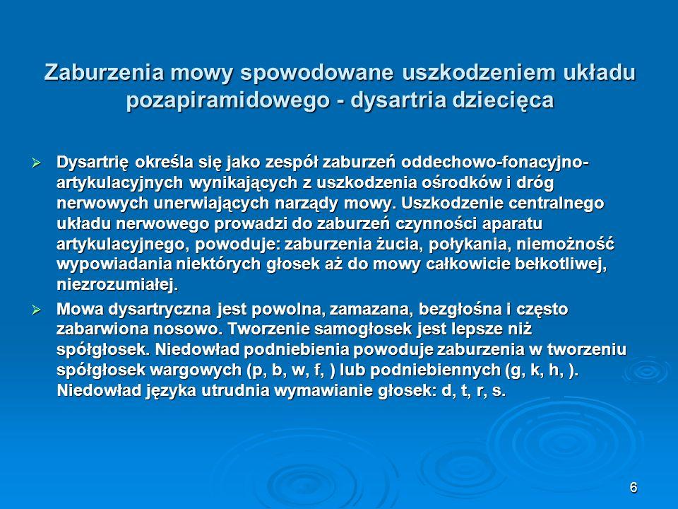 Zaburzenia mowy spowodowane uszkodzeniem układu pozapiramidowego - dysartria dziecięca Dysartrię określa się jako zespół zaburzeń oddechowo-fonacyjno-