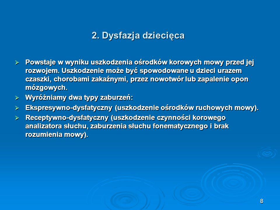 2. Dysfazja dziecięca Powstaje w wyniku uszkodzenia ośrodków korowych mowy przed jej rozwojem. Uszkodzenie może być spowodowane u dzieci urazem czaszk
