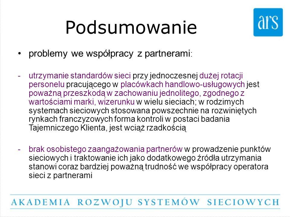 Podsumowanie problemy we współpracy z partnerami : -utrzymanie standardów sieci przy jednoczesnej dużej rotacji personelu pracującego w placówkach han