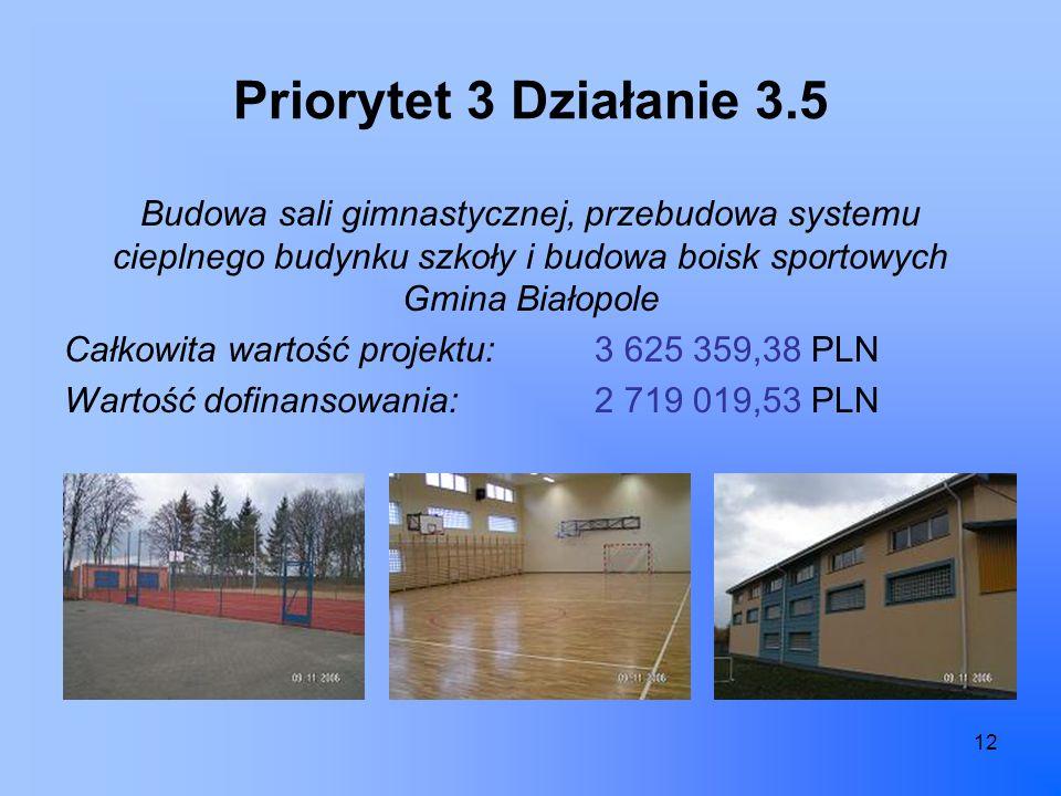 12 Priorytet 3 Działanie 3.5 Budowa sali gimnastycznej, przebudowa systemu cieplnego budynku szkoły i budowa boisk sportowych Gmina Białopole Całkowita wartość projektu:3 625 359,38 PLN Wartość dofinansowania:2 719 019,53 PLN