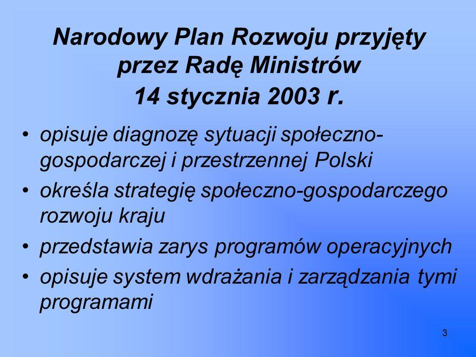 3 Narodowy Plan Rozwoju przyjęty przez Radę Ministrów 14 stycznia 2003 r.