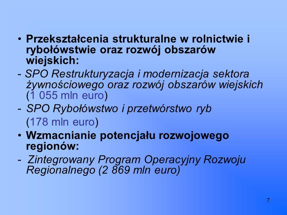 7 Przekształcenia strukturalne w rolnictwie i rybołówstwie oraz rozwój obszarów wiejskich: - SPO Restrukturyzacja i modernizacja sektora żywnościowego oraz rozwój obszarów wiejskich (1 055 mln euro) -SPO Rybołówstwo i przetwórstwo ryb (178 mln euro) Wzmacnianie potencjału rozwojowego regionów: - Zintegrowany Program Operacyjny Rozwoju Regionalnego (2 869 mln euro)