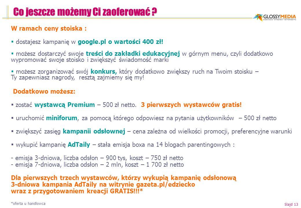 Co jeszcze możemy Ci zaoferować ? W ramach ceny stoiska : dostajesz kampanię w google.pl o wartości 400 zł! możesz dostarczyć swoje treści do zakładki