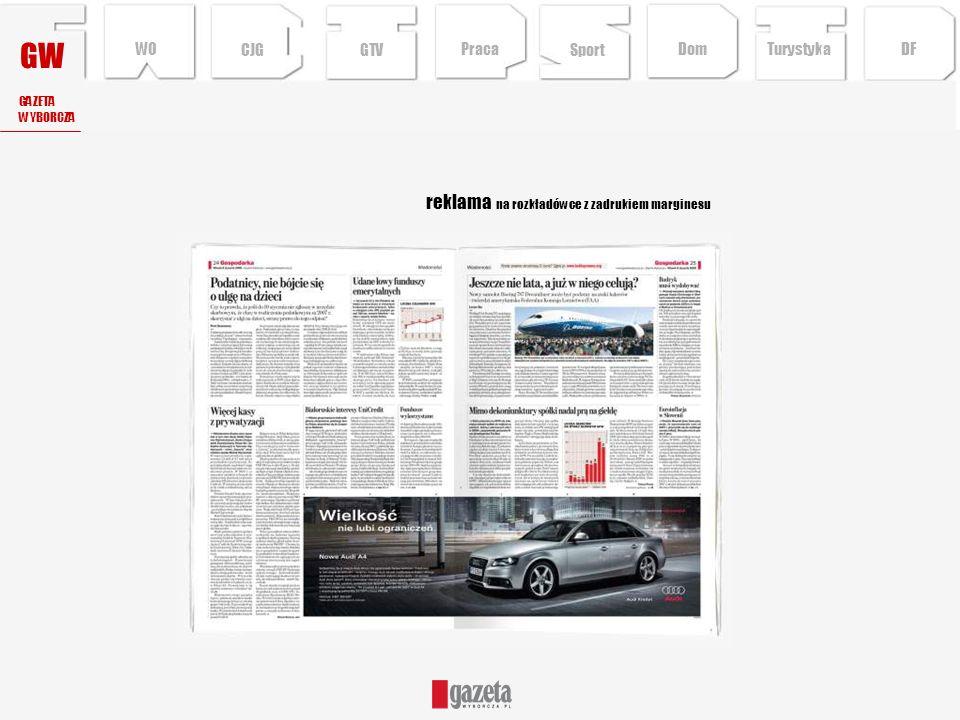 reklama na rozkładówce z zadrukiem marginesu GW GAZETA WYBORCZA CJG Sport TurystykaPraca DFDom WO GTV