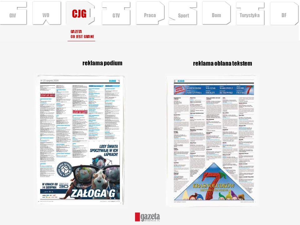 CJG reklama podium GW reklama oblana tekstem GAZETA CO JEST GRANE Sport TurystykaPraca DFDom GTV WO