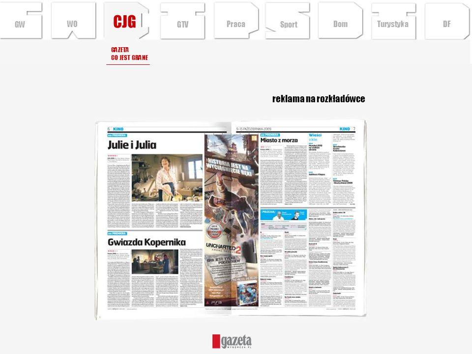 CJG reklama na rozkładówce GW GAZETA CO JEST GRANE Sport TurystykaPraca DFDom GTV WO
