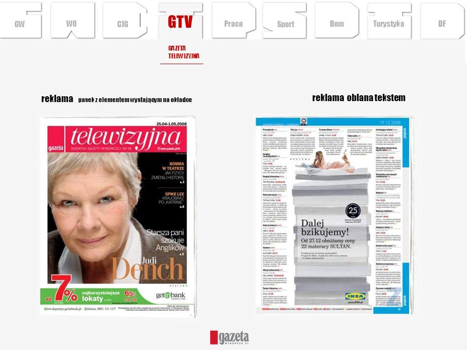 GTV reklama oblana tekstem GWCJG GAZETA TELEWIZYJNA reklama pasek z elementem wystającym na okładce Sport TurystykaPraca DFDom WO