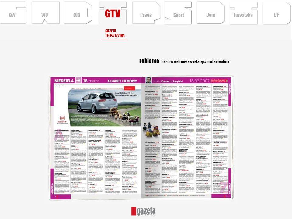 GTV reklama na górze strony z wystającym elementem GWCJG GAZETA TELEWIZYJNA Sport TurystykaPraca DFDom WO
