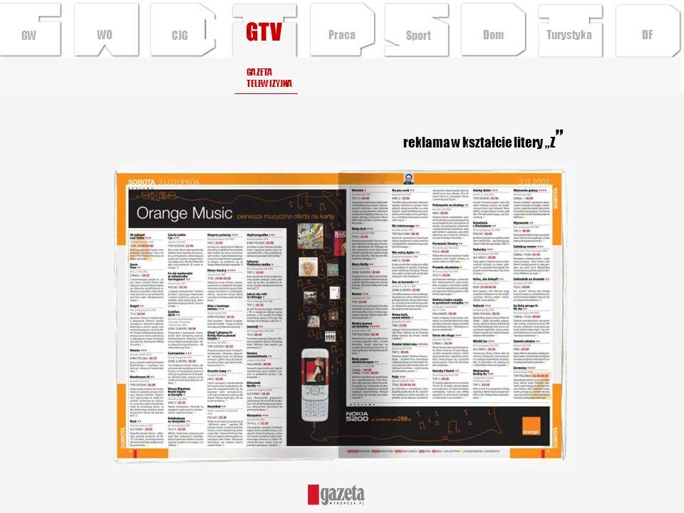 GTV reklama w kształcie litery Z GWCJG Sport TurystykaPraca DFDom WO GAZETA TELEWIZYJNA