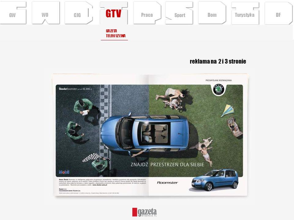 GTV reklama na 2 i 3 stronie GWCJG Sport TurystykaPraca DFDom WO GAZETA TELEWIZYJNA