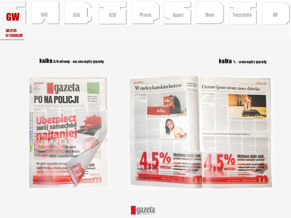 GW kalka ¼ - wewnątrz gazety kalka 3/4 strony - na zewnątrz gazety GAZETA WYBORCZA CJG Sport TurystykaPraca DFDom WO GTV