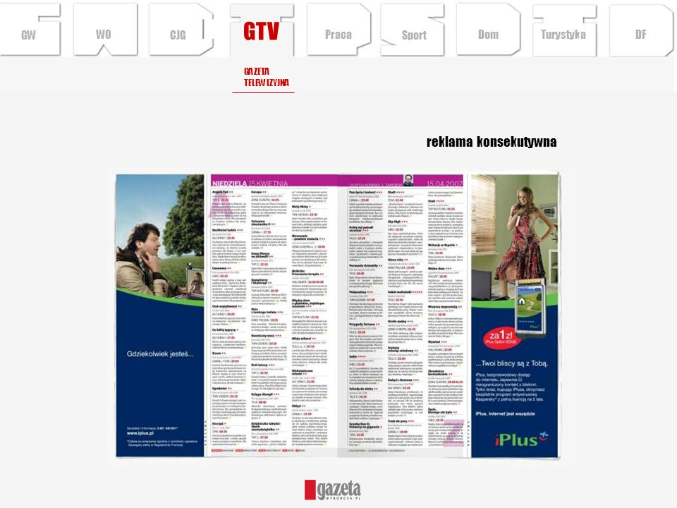 GTV reklama konsekutywna GWCJG Sport TurystykaPraca DFDom WO GAZETA TELEWIZYJNA
