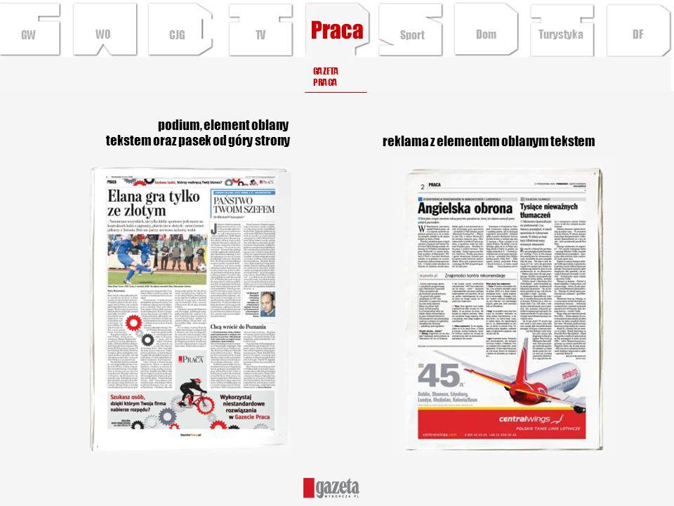 Praca GWCJGTV podium, element oblany tekstem oraz pasek od góry strony reklama z elementem oblanym tekstem GAZETA PRACA Sport Turystyka DFDom WO