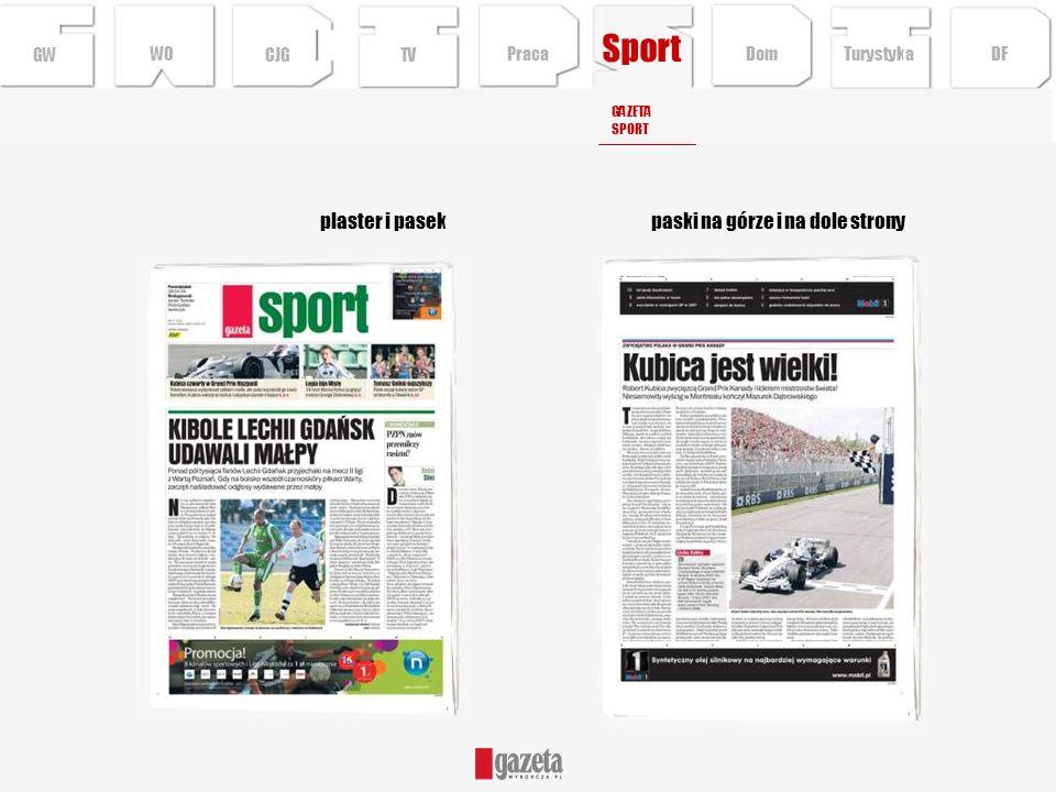 Sport paski na górze i na dole stronyplaster i pasek GWCJGTV GAZETA SPORT Turystyka DFDom Praca WO