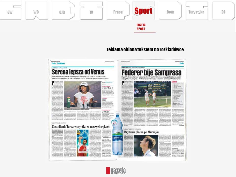 reklama oblana tekstem na rozkładówce GWCJGTV GAZETA SPORT Turystyka DFDom Praca WO Sport
