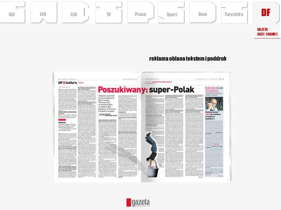 DF GWCJGTV reklama oblana tekstem i poddruk GAZETA DUŻY FORMAT Sport TurystykaPraca Dom WO