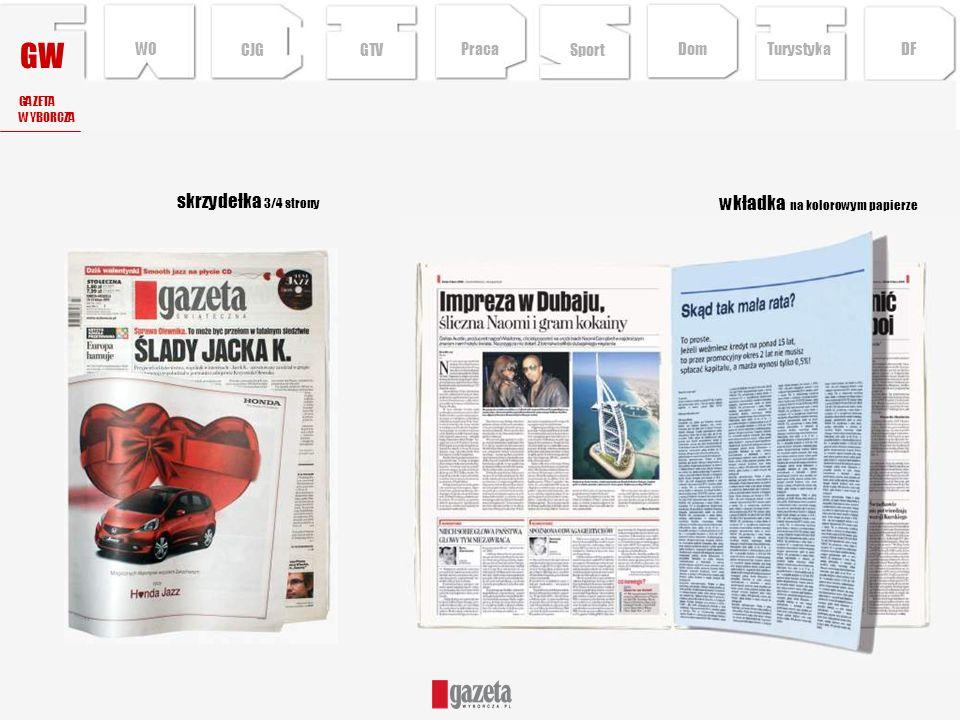 GW wkładka na kolorowym papierze skrzydełka 3/4 strony GAZETA WYBORCZA CJG Sport TurystykaPraca DFDom WO GTV