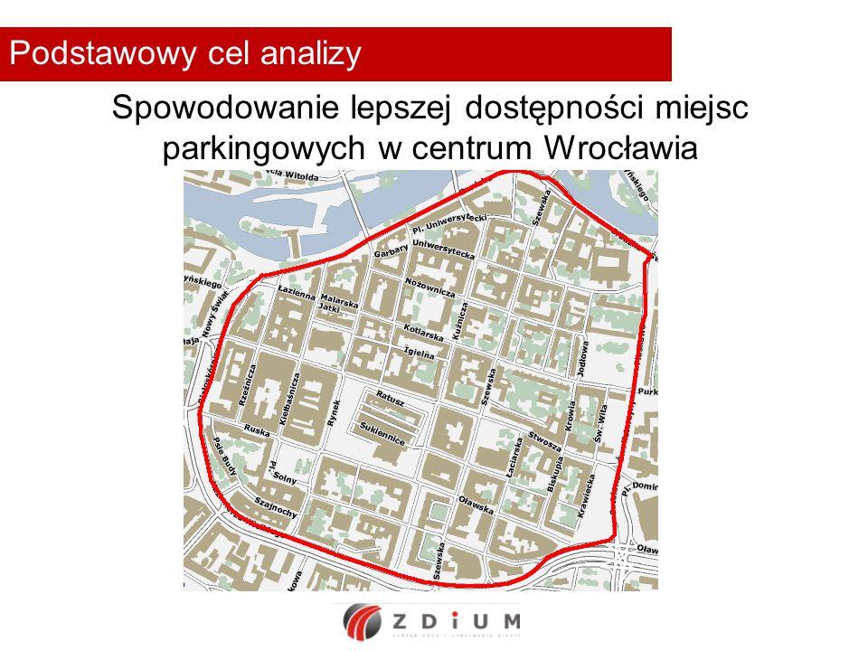 Podstawowy cel analizy Spowodowanie lepszej dostępności miejsc parkingowych w centrum Wrocławia