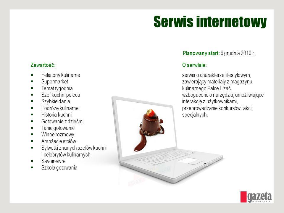 Serwis internetowy Planowany start: 6 grudnia 2010 r. O serwisie: serwis o charakterze lifestylowym, zawierający materiały z magazynu kulinarnego Palc