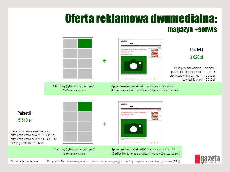 Oferta reklamowa dwumedialna: magazyn +serwis 1/8 strony (tylko strony Witryna) 90x60 mm w ramce + Sponsorowana galeria zdjęć zawierająca maksymalnie