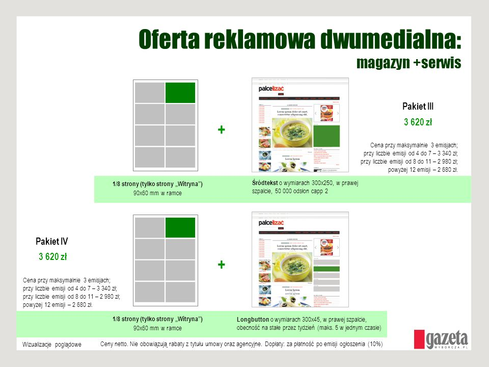 1/8 strony (tylko strony Witryna) 90x60 mm w ramce + Wizualizacje poglądowe 1/8 strony (tylko strony Witryna) 90x60 mm w ramce + Longbutton o wymiarac