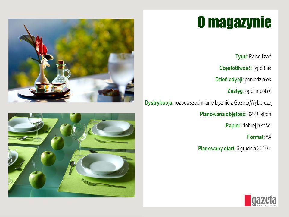 Profil magazynu Jakość ze znakiem Gazety Wyborczej Magazyn wydawany na papierze dobrego gatunku; prezentujący ładne stylizacje, niebanalny w treści Wszechstronny Szeroki zakres propozycji kulinarnych, zarówno z kuchni polskiej jak i światowej.