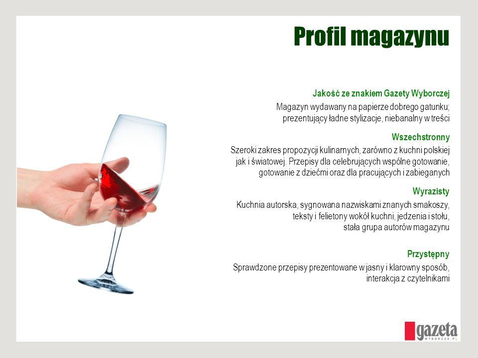 Profil magazynu Jakość ze znakiem Gazety Wyborczej Magazyn wydawany na papierze dobrego gatunku; prezentujący ładne stylizacje, niebanalny w treści Ws