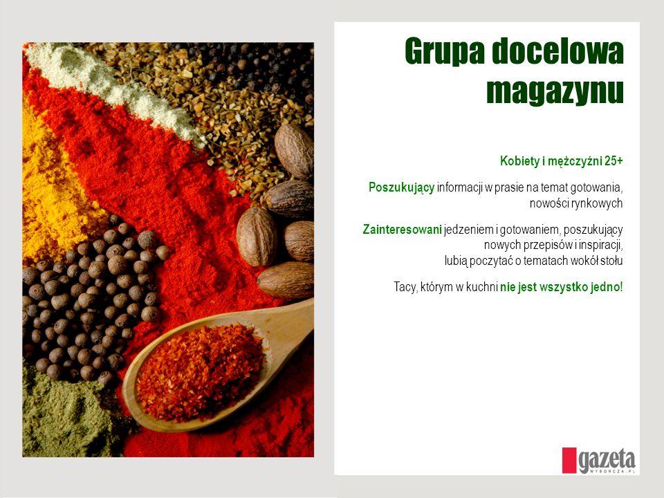 Grupa docelowa magazynu Kobiety i mężczyźni 25+ Poszukujący informacji w prasie na temat gotowania, nowości rynkowych Zainteresowani jedzeniem i gotow