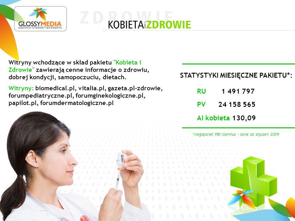 *Megapanel PBI/Gemius – dane za styczeń 2009 STATYSTYKI MIESIĘCZNE PAKIETU*: Witryny wchodzące w skład pakietu Kobieta i Zdrowie zawierają cenne informacje o zdrowiu, dobrej kondycji, samopoczuciu, dietach.