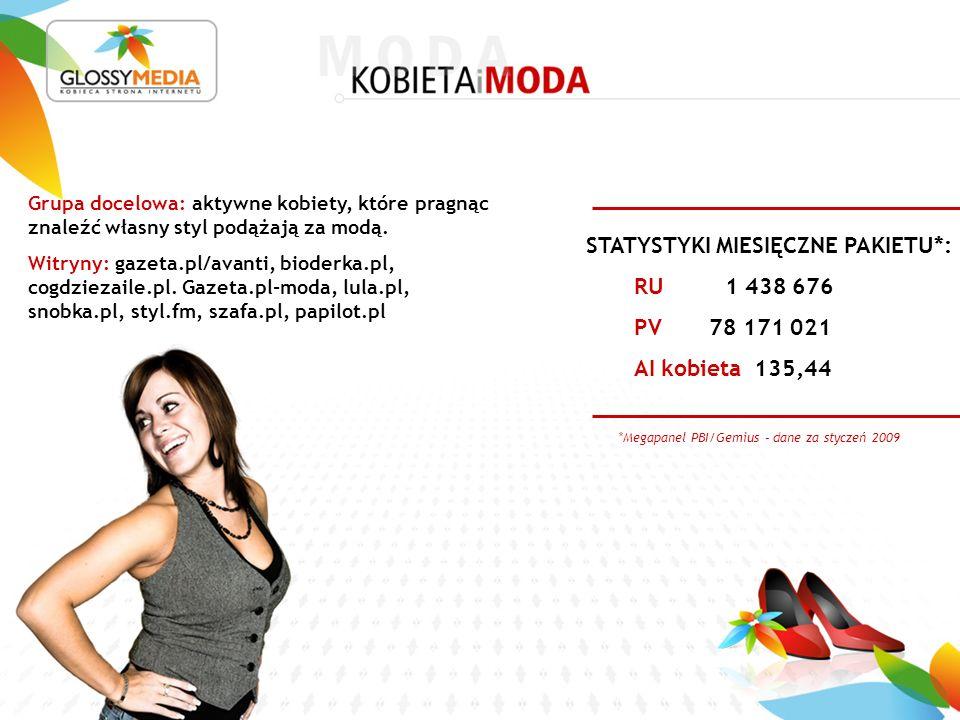 *Megapanel PBI/Gemius – dane za styczeń 2009 RU 1 438 676 PV 78 171 021 AI kobieta 135,44 STATYSTYKI MIESIĘCZNE PAKIETU*: Grupa docelowa: aktywne kobiety, które pragnąc znaleźć własny styl podążają za modą.