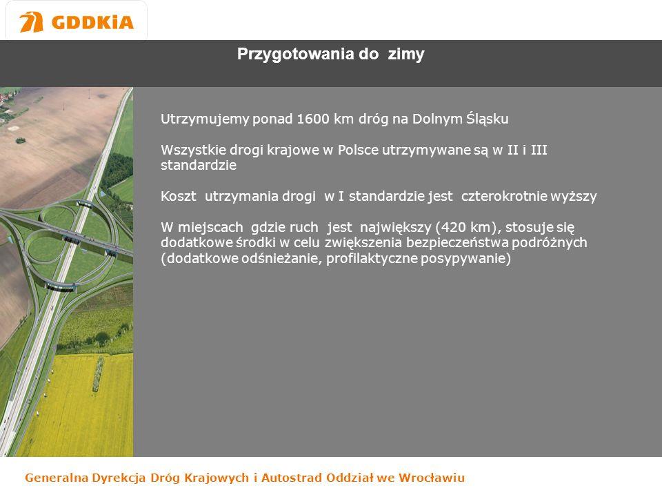 Generalna Dyrekcja Dróg Krajowych i Autostrad Oddział we Wrocławiu Przygotowania do zimy Utrzymujemy ponad 1600 km dróg na Dolnym Śląsku Wszystkie drogi krajowe w Polsce utrzymywane są w II i III standardzie Koszt utrzymania drogi w I standardzie jest czterokrotnie wyższy W miejscach gdzie ruch jest największy (420 km), stosuje się dodatkowe środki w celu zwiększenia bezpieczeństwa podróżnych (dodatkowe odśnieżanie, profilaktyczne posypywanie)