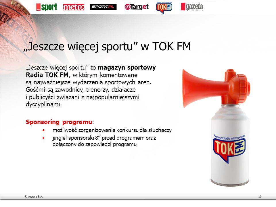 © Agora S.A.10 Jeszcze więcej sportu to magazyn sportowy Radia TOK FM, w którym komentowane są najważniejsze wydarzenia sportowych aren.