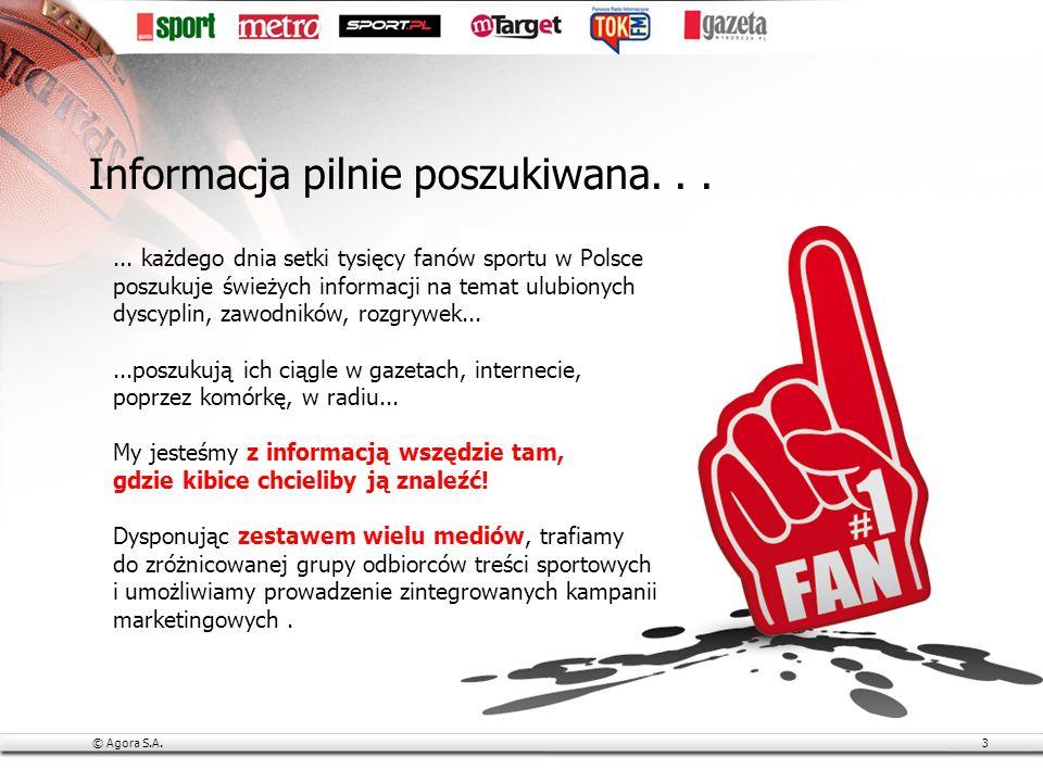 © Agora S.A.4 Media Agory szczycą się najsilniejszą w Polsce grupą nowoczesnych dziennikarzy sportowych, znanych z rzetelności i fachowości: tworzą artykuły, nagrania wideo, programy, blogi w Gazecie Wyborczej, Sport.pl, Tok FM i innych mediach są multimedialnymi gwiazdami w internecie (na blogach, Twitterze, YouTube.com) oraz stałymi gośćmi popularnych programów TV Michał Pol (europejska piłka nożna, komentator N sport) Przemysław Iwańczyk (siatkówka, kolarstwo, komentator Polsatu) Rafał Stec (piłka nożna, siatkówka) Radosław Leniarski (lekkoatletyka, pływanie, boks) Robert Błoński (polska piłka nożna, współpracownik TVP i Canal+) Siła pasji i profesjonalizmu