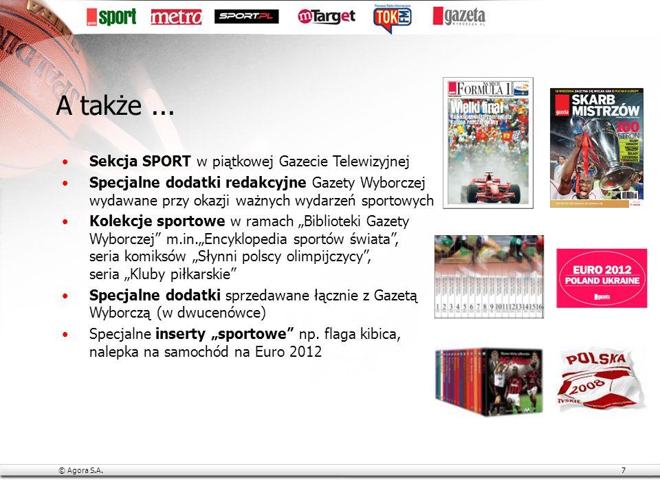 © Agora S.A.8 W każdej minucie doby, 7 dni w tygodniu redakcja Sport.pl dostarcza kibicom wyników, relacji, komentarzy fotografii, materiałów wideo Lubimy interakcje z naszymi użytkownikami, dlatego Sport.pl to też Zczuba.pl czy też Sportowe Forum Dyskusyjne Co miesiąc wybiera nasze serwisy 2 900 000 realnych użytkowników* Kibice lubią internet *PBI Gemius Megapanel, czerwiec 2009