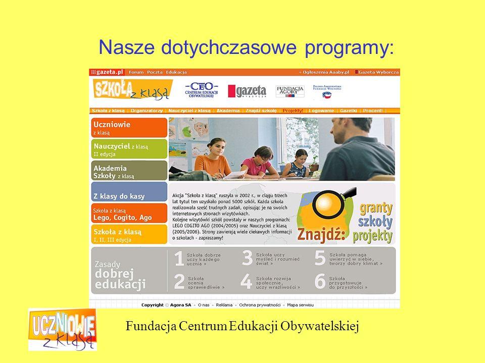 Fundacja Centrum Edukacji Obywatelskiej Nasze dotychczasowe programy: