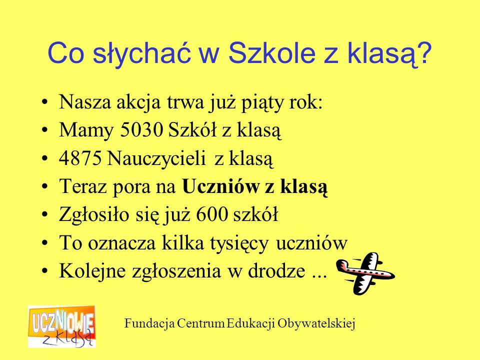 Fundacja Centrum Edukacji Obywatelskiej Co słychać w Szkole z klasą.