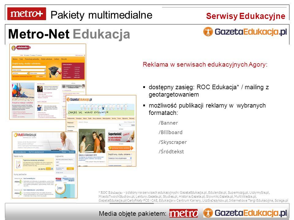 Pakiety multimedialne Metro-Net Edukacja Media objęte pakietem: Zapraszamy do współpracy Biuro Reklamy Warszawa tel.