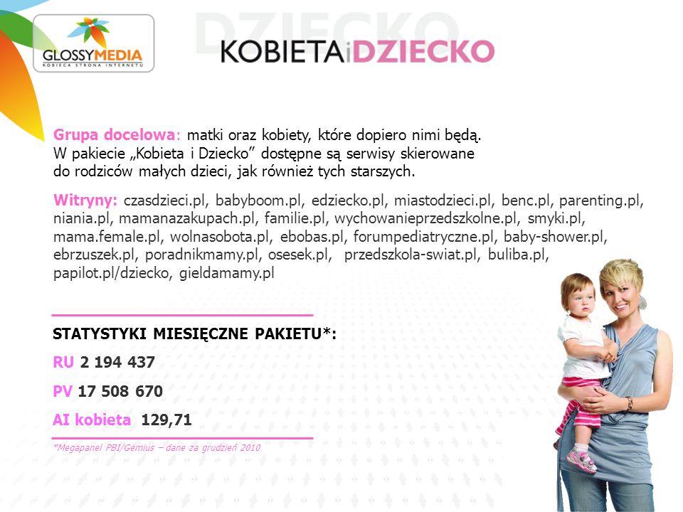STATYSTYKI MIESIĘCZNE PAKIETU*: RU 2 194 437 PV 17 508 670 AI kobieta 129,71 Grupa docelowa: matki oraz kobiety, które dopiero nimi będą.
