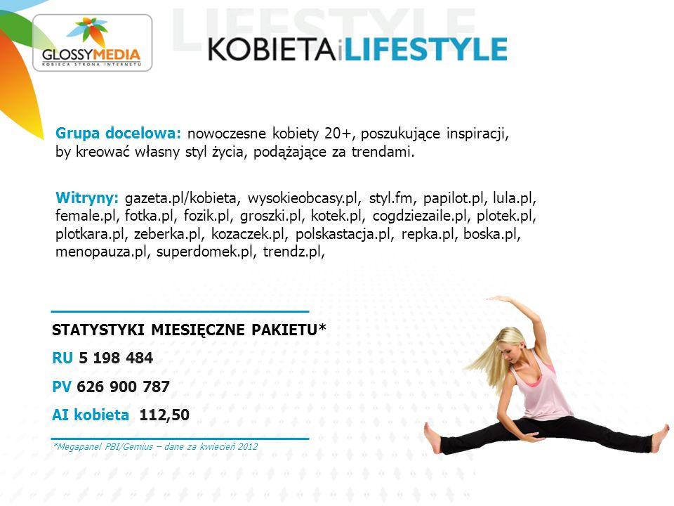 Grupa docelowa: nowoczesne kobiety 20+, poszukujące inspiracji, by kreować własny styl życia, podążające za trendami. Witryny: gazeta.pl/kobieta, wyso