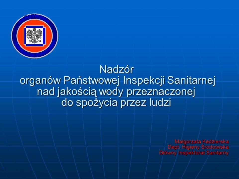Nadzór organów Państwowej Inspekcji Sanitarnej organów Państwowej Inspekcji Sanitarnej nad jakością wody przeznaczonej do spożycia przez ludzi Małgorz