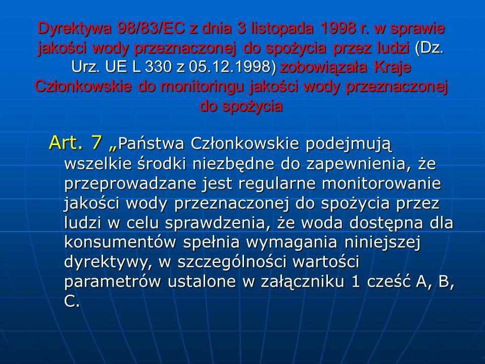 Dyrektywa 98/83/EC z dnia 3 listopada 1998 r. w sprawie jakości wody przeznaczonej do spożycia przez ludzi (Dz. Urz. UE L 330 z 05.12.1998) zobowiązał
